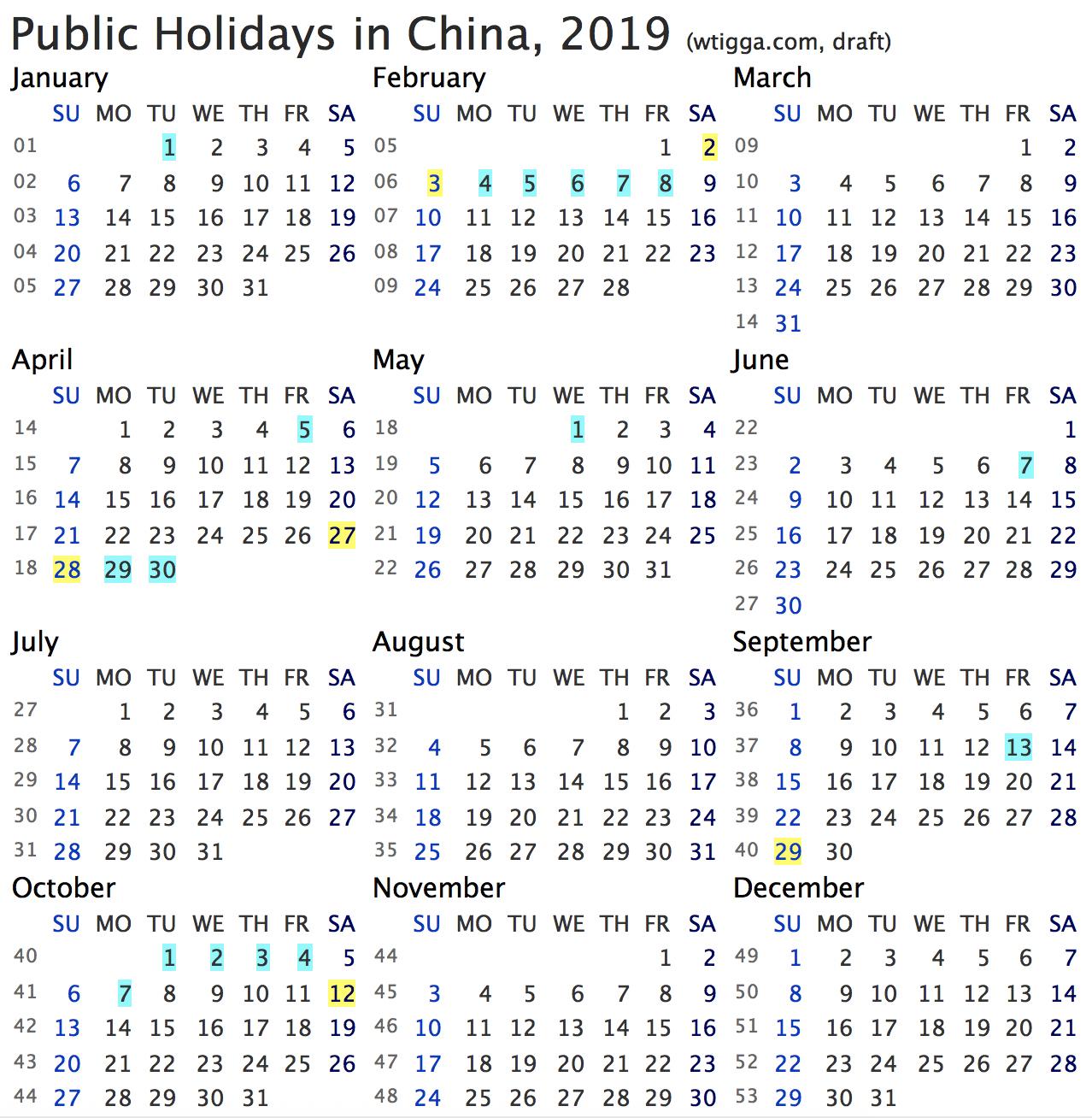 Public holidays in China, 2019 (wtigga.com/en)